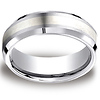 7mm Satin Silver Inlay Comfort-Fit Cobaltchrome Wedding Band