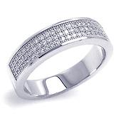 Sterling Silver Triple-Row Micropave Cubic Zirconia Ring