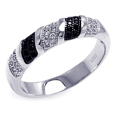 Black and White Sterling Silver Micro Pave Ring