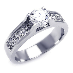 Chic Cathedral Round-Cut & Micropave Side CZ Engagement Ring in Sterling Silver (Rhodium)