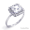 Sterling Silver Round Halo Princess Cut CZ Engagement Ring