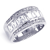 Ladies' Round & Emerald Cut CZ Sterling Silver Ring Band