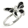 Pave Black Cubic Zirconia Butterfly Ring in Sterling Silver (Rhodium)