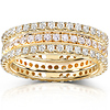 14K Yellow Gold 1.50 CTW Round Diamond 3 Piece Eternity Ring Set