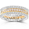 14KWY Gold 1.50 CTW Round Diamond 3 Piece Eternity Wedding Band Set