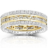 14KWY Gold 2 CTW Round Diamond 3 Piece Eternity Ring Set
