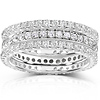 14KW Gold 1.50 CTW Diamond Prong & Pave Set 3 Piece Eternity Ring Set