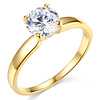 1-CT Round-Cut 4-Prong Solitaire CZ Engagement Ring in 14K Yellow Gold