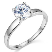 14K White Gold Round-Cut 4-Prong Solitaire CZ Engagement Ring