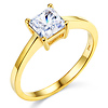 1-CT Basket Prong Princess-Cut Solitaire CZ Engagement Ring in 14K Yellow Gold