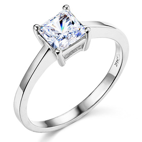 1-CT Basket Prong Princess-Cut Solitaire CZ Engagement Ring in 14K White Gold