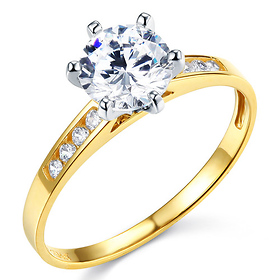 Cathedral-Set Round-Cut CZ Engagement Ring in Two-Tone 14K Yellow Gold