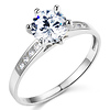 Cathedral-Set Round-Cut CZ Engagement Ring in 14K White Gold