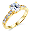 Trellis Cathedral 1-CT Round-Cut CZ Engagement Ring in 14K Yellow Gold