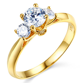 3-Stone Knife-Edge Cathedral Round-Cut CZ Engagement Ring in 14K Yellow Gold