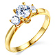3-Stone Knife-Edge Cathedral Round-Cut CZ Engagement Ring in 14K Yellow Gold thumb 0
