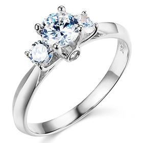 3 Stone Knife Edge Cathedral Round Cut Cz Engagement Ring In 14k White Gold
