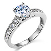 1-CT Round Cathedral CZ Engagement Ring & Pave Stones in 14K White Gold