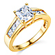 1-CT Princess-Cut & Channel Side CZ Engagement Ring in 14K Yellow Gold thumb 0