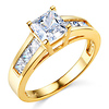 1-CT Princess-Cut & Channel Side CZ Engagement Ring in 14K Yellow Gold