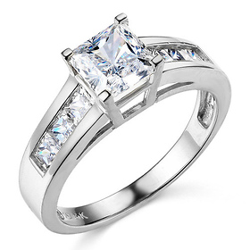 Channel & Basket-Set Princess-Cut CZ Engagement Ring in 14K White Gold