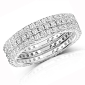3-Piece Cubic Zirconia CZ Eternity Ring Set in Sterling Silver