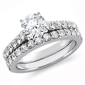 Shared-Prong Round CZ Engagement Ring Eternity Band Set in Sterling Silver (Rhodium)
