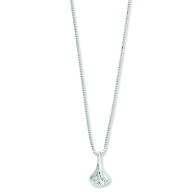 White Ice .925 Sterling Silver 0.10 TCW Drop Diamond Charm Necklace