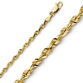 3mm 14K Yellow Gold Diamond-Cut Rope Chain Necklace 16-24in
