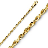 2.5mm 14K Yellow Gold Diamond-Cut Rope Chain Necklace 16-24in