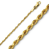 2mm 14K Yellow Gold Diamond-Cut Rope Chain Necklace 16-24in