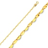 1.7mm 14K Yellow Gold Curved Mirror Link Chain Necklace 16-20in