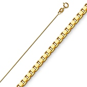 0.5mm 14K Yellow Gold Box Link Chain Necklace 16-22in