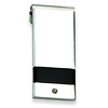 Stainless Steel Black Rubber Money Clip with CZ Accent