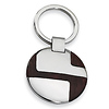 Stainless Steel Wood Grain Finish Polished Key Ring