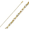 1.2mm 14K Two Tone Gold Twisted Snail Chain Necklace 16-22in