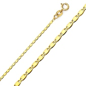 1.3mm 14K Yellow Gold Valentino Chain Necklace 16-22in