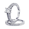 Vintage Style Engraved Princess-Cut CZ Engagement Ring Set in Sterling Silver