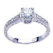Vintage-Style Engraved Round-Cut CZ Engagement Ring in Sterling Silver (Rhodium)