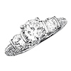Vintage-Style Scalloped 3-Stone Round CZ Engagement Ring in Sterling Silver (Rhodium)