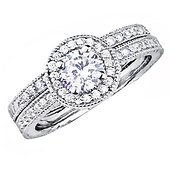 Round-Cut Pave Halo CZ Engagement Ring Set in Sterling Silver (Rhodium)