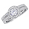 Round-Cut Pave Halo CZ Engagement Ring Set in Sterling Silver
