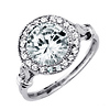 Art Deco Halo 2.65ct Round-Cut CZ Engagement Ring in Sterling Silver (Rhodium)