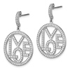 Elliot Skye Sterling Silver 'LOVE' Open Cut Round CZ Drop Earrings