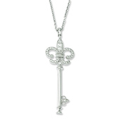 Elliot Skye Sterling Silver Fleur De Lis CZ Key Necklace
