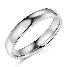41893015eb4 4mm Classic Light Comfort-Fit Dome Wedding Band - 10K, 14K, 18K White Gold