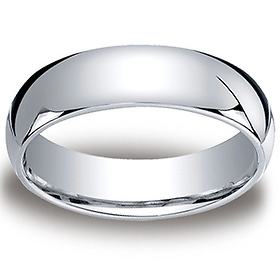 6mm Classic Light Comfort-Fit Dome Wedding Band - Platinum