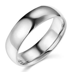 6mm Classic Light Comfort-Fit Dome Wedding Band - 10K, 14K, 18K White Gold