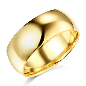 8mm Classic Light Comfort-Fit Dome Men's Wedding Band - 10K, 14K, 18K Yellow Gold