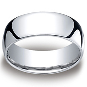 8mm Classic Light Comfort-Fit Dome Men's Wedding Band - Platinum